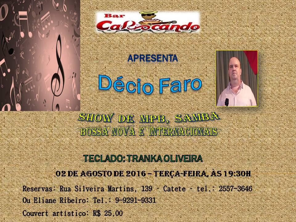 Show Décio Faro | MPB, Samba, Bossa Nova e Internacionais | Bar Cariocando